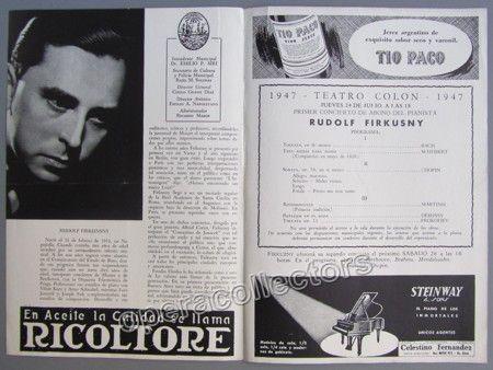 Firkusny, Rudolf - T. Colon Concert Program 1947