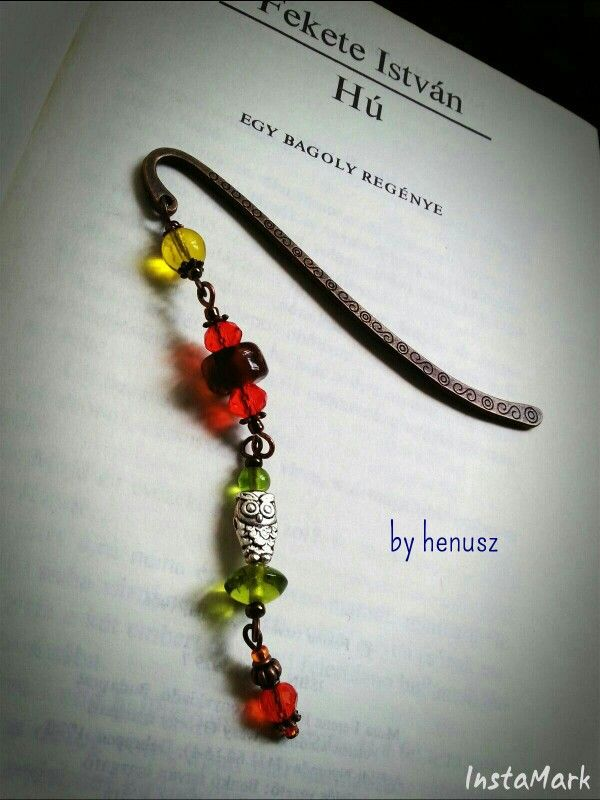 Owl and glass bead in forest colour - bookmark by henusz