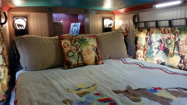 Bed in my mom's horse trailer Awesome renovation she did in her horse/sleeper trailer!