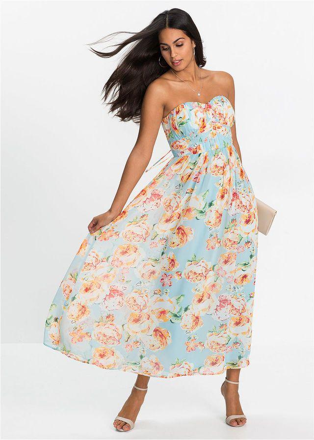 Dluga Sukienka Szyfonowa Lodowy Mietowy W Kwiaty Bonprix Sklep Dresses Fashion Strapless Dress