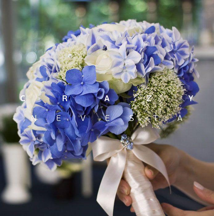 свадебный букет с синей гортензией, Текст, Букет невесты, Оформление свадьбы цветами, Свадьбы в голубом цвете, Роза, Гортензия