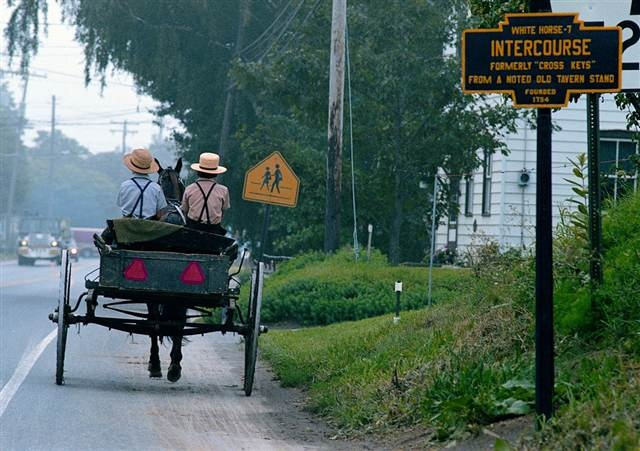 Intercourse, PA. Got a lot of giggles out of our 12 year old son everytime he read the city signs while visiting here in Amish country.