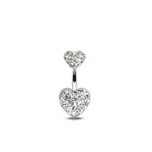 Y Belly On Rink Surgical Steel 14 Guage Navel Ring Bar Clear Rhinestone Silver Heart Design By Simplifestyle