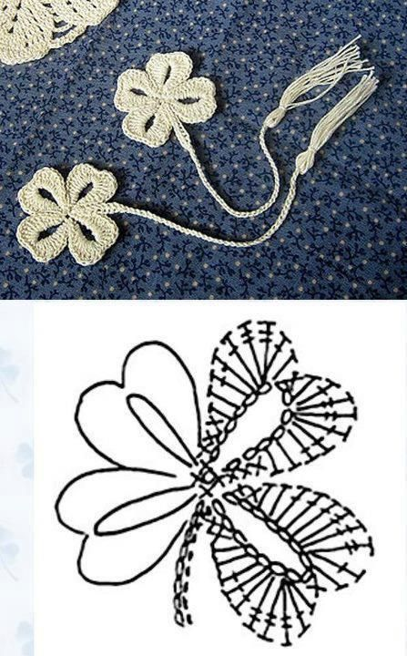 Crocheted Four Leaves