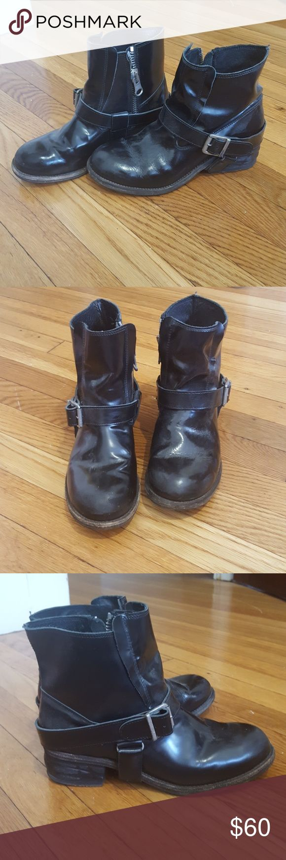 All Saints Jules biker boot size 40 ALL SAINTS  Black leather ankle boots size 40. Very gently worn black leather ankle boots with zips and hardware. Light wear on soles. I wear a US size 9 and these fit well with a sock. All Saints Shoes Combat & Moto Boots