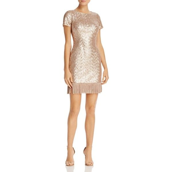 Aidan Aidan Fringe-Hem Sequin Dress (3,730 MXN) ❤ liked on Polyvore featuring dresses, champagne, off white dress, champagne cocktail dress, sequin cocktail dresses, sequin embellished dress and wetlook dress