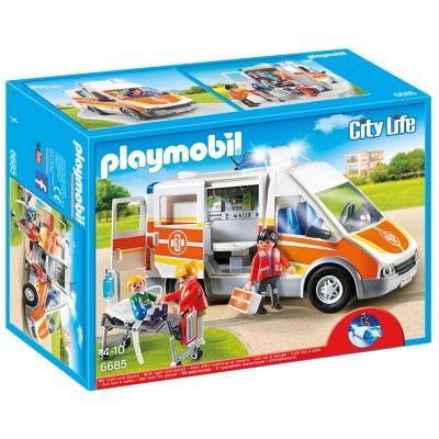 1600 Playmobil 6685 : City Life : Ambulance avec gyrophare et sirène - Playmobil-6685