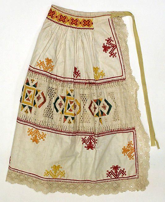 Apron.  Date: 1800–1941. Culture: Slovak. Medium: linen, silk.