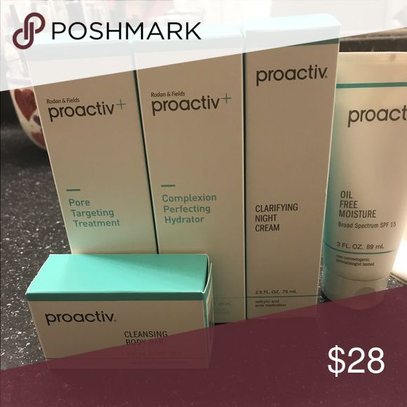 New Sealed proactive 5 piece kit Proactive kit with cleansing soap pore treatment cleanser for the face night cream with retinal moisturizer oil free with spf 15.. Price is firm Makeup