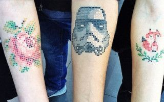 Tattoos that look more like cross-stitch designs are absolutely gorgeous