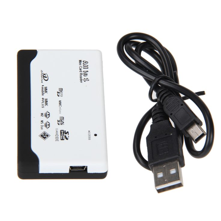 All in 1 Memory Card Reader USB External SD SDHC Mini Micro M2 MMC XD CF Flash Memory Card Reader with USB Cable White