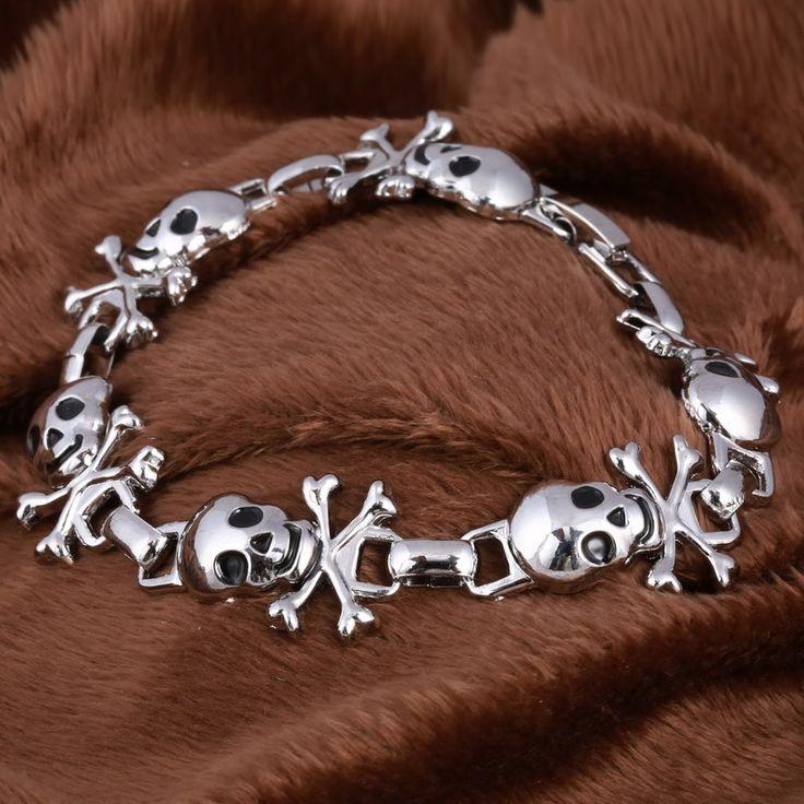 Stainless Steel Skull Retro Punk Charm Bracelet //Price: $12.69 & FREE Shipping //     #skull #skullinspiration #skullobsession #skulls