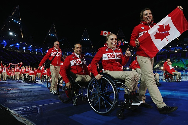 Athletes from Canada arrive during the Opening Ceremony of the London 2012 Paralympics at the Olympic Stadium on August 29, 2012 in London, England. (Photo by Dan Kitwood/Getty Images)