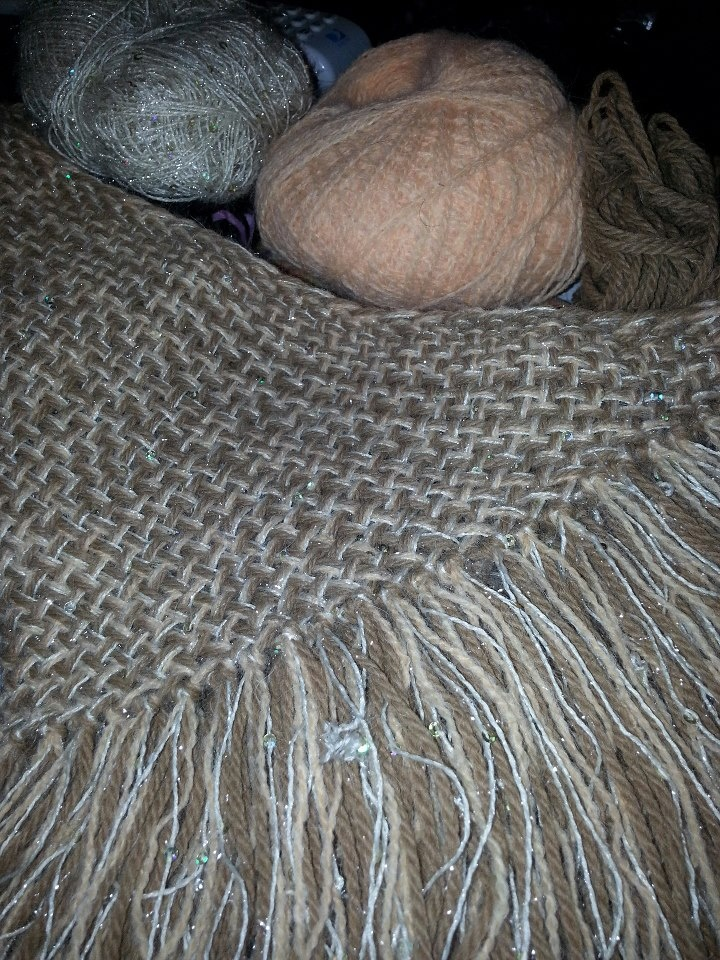 I like this one. Two strands of alpaca and one nylon with sparkle and sequins. — with Kimberly Pollay, Judy C Benson and Sherry Brubaker-Pollock at Endless Farms Alpacas.