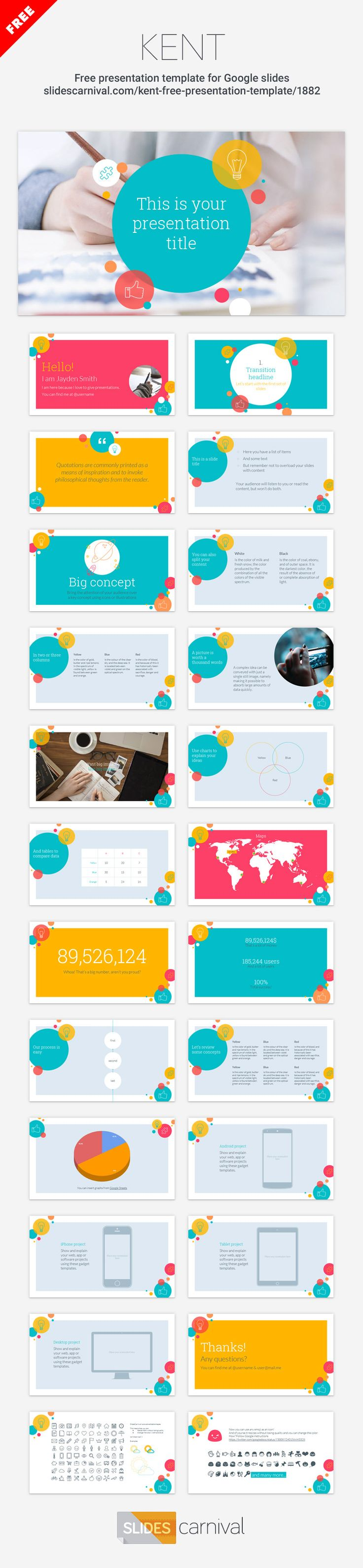 A free presentation template for Powerpoint or Google Slides. This theme has bold and lively design for your presentations with a playful pattern of circles and icons. If you're looking to enliven the audience and convey a positive and cheerful message this template can help you.