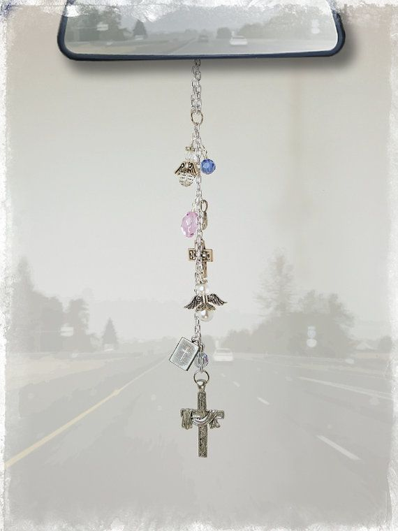 I WANT THIS....angel car charm | Cross Bible Dove Angels Car Charm - Rear View Mirror Car Accessories
