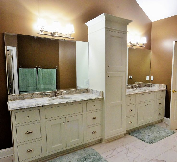 Master Bathroom Double Vanity With Linen Tower, Granite Counter Tops.  Renovation By Atlanta General