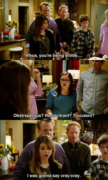 """Modern Family...from """"Under Pressure.""""   English teachers worldwide laughed the hardest when they saw this scene!"""