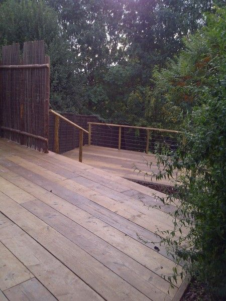 Decking from reclaimed scaffolding boards