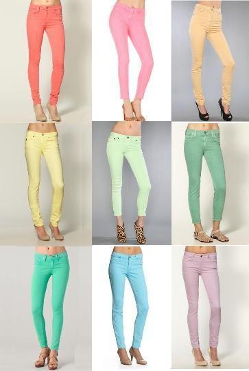 pastel jeans. a must.Colors Pants, Mint Green, Skinny Jeans, Colors Jeans, Pastel Jeans, Colors Skinny, Pastel Colors, Pastel Skinny, Colors Denim