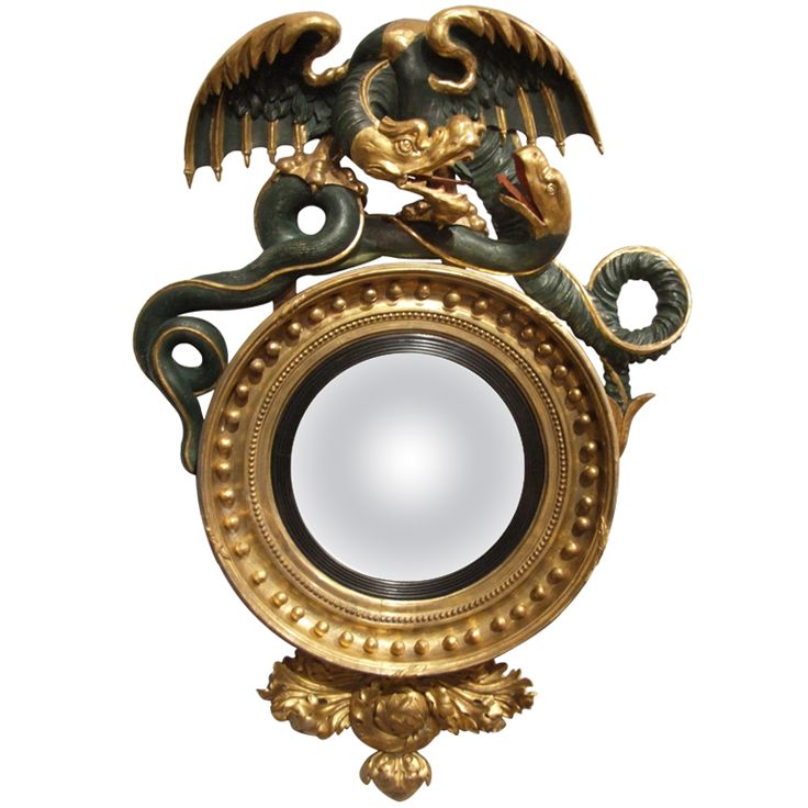 Wrestling Drangon And Serpent Regency Convex Mirror Circa