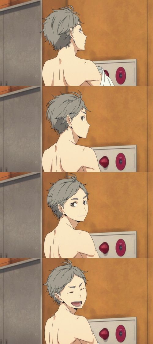 Sugawara always helps make everything better. Like in this scene where are little first year coach was in the gym when they changed their shirts.