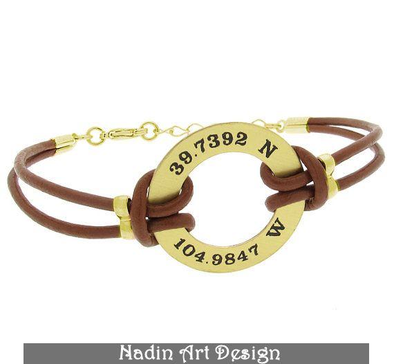 GPS Koordinaten Armband für Männer. Geschenk von NadinArtDesign auf DaWanda.com