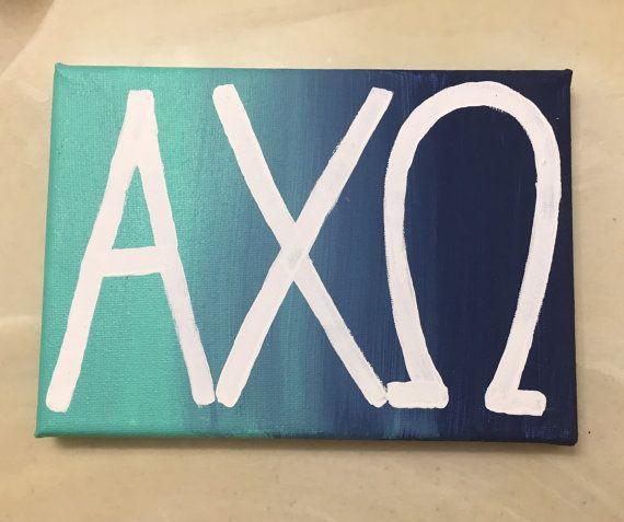 alpha chi omega ombre letter canvas