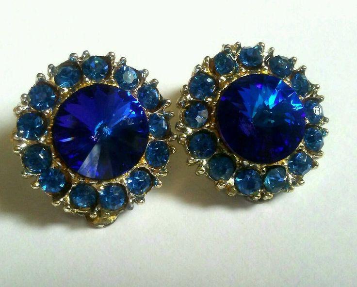 """VINTAGE royal blue rhinestone EARRINGS Rivoli crystal round Sapphire clip on ¾"""" #Stud"""