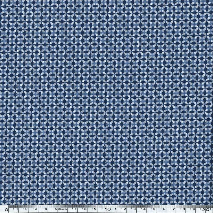 Chambray rosaces bleues sur fond bleu clair 20x140 cm