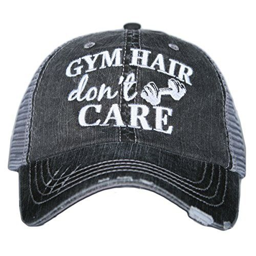 GYM Hair Don t Care Women s Distressed Grey Trucker Hat in 2018 ... 8e146d799024