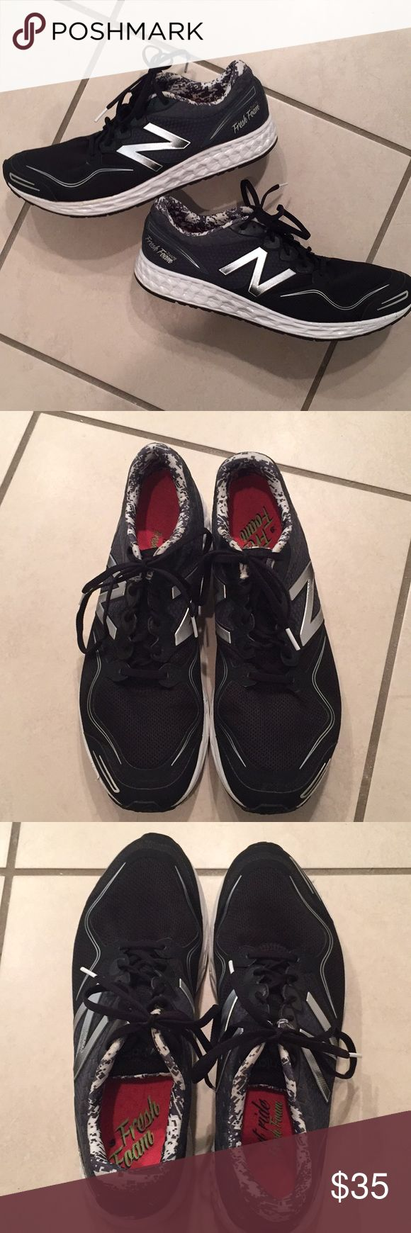 Men's New Balance fresh foam sneakers Light weight black, gray and silver sneakers, worn but still a lot of life left!! See pics- minimal wear! New Balance Shoes Sneakers