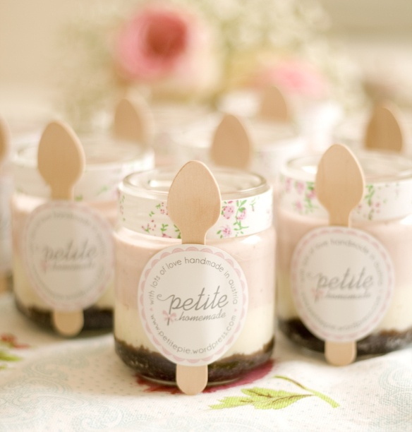 Neopolitan Mini Cheescakes in Jars (brownies, vanilla cheesecake, and strawberry cheesecake) from Petite Homemade