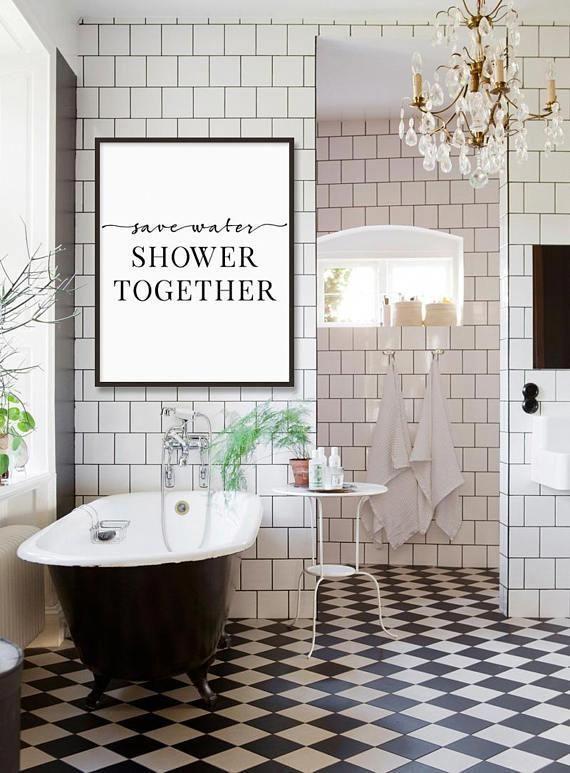 Funny Bathroom Decor Save Water Shower Together Bathroom Etsy Bathroom Tile Designs Farmhouse Bathroom Decor Save Water Shower Together