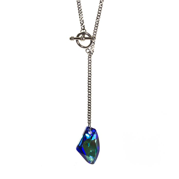 Galactic Sautoir (Blue Lagoon) - necklace featuring statement gunmetal hardware with large genuine Swarovski pendant in galactic shape. A bold, psychadelic blue colour that really stands out. Not for the faint hearted.