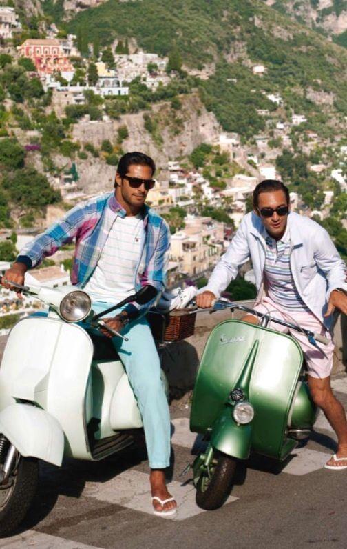 Two Italian Hunks On Vespa Scooters In The Italian -3614