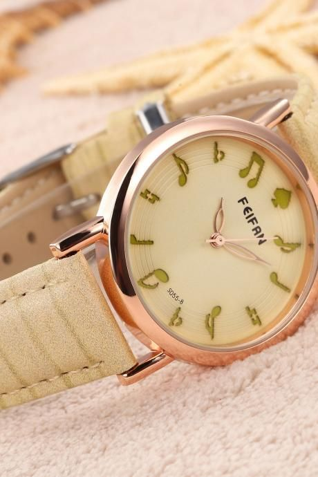 Musical note casual fashion leather watch. I live this so much it hurts😭
