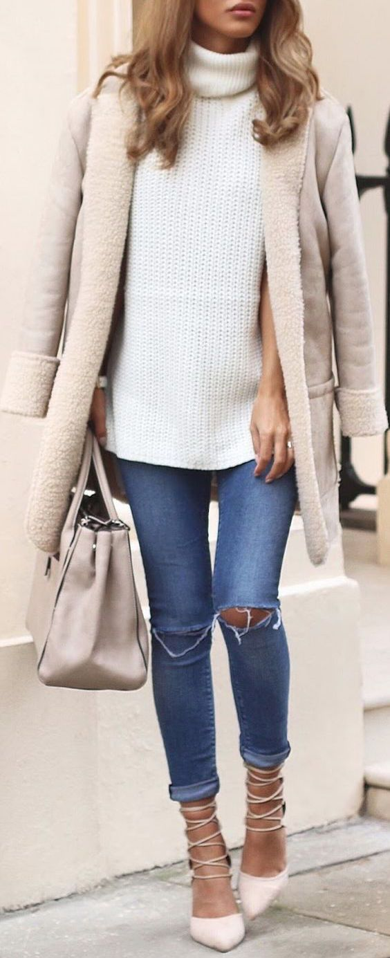 #winter #fashion / white turtleneck knit love this jacket. Color is perfect and looks so comfy and warm