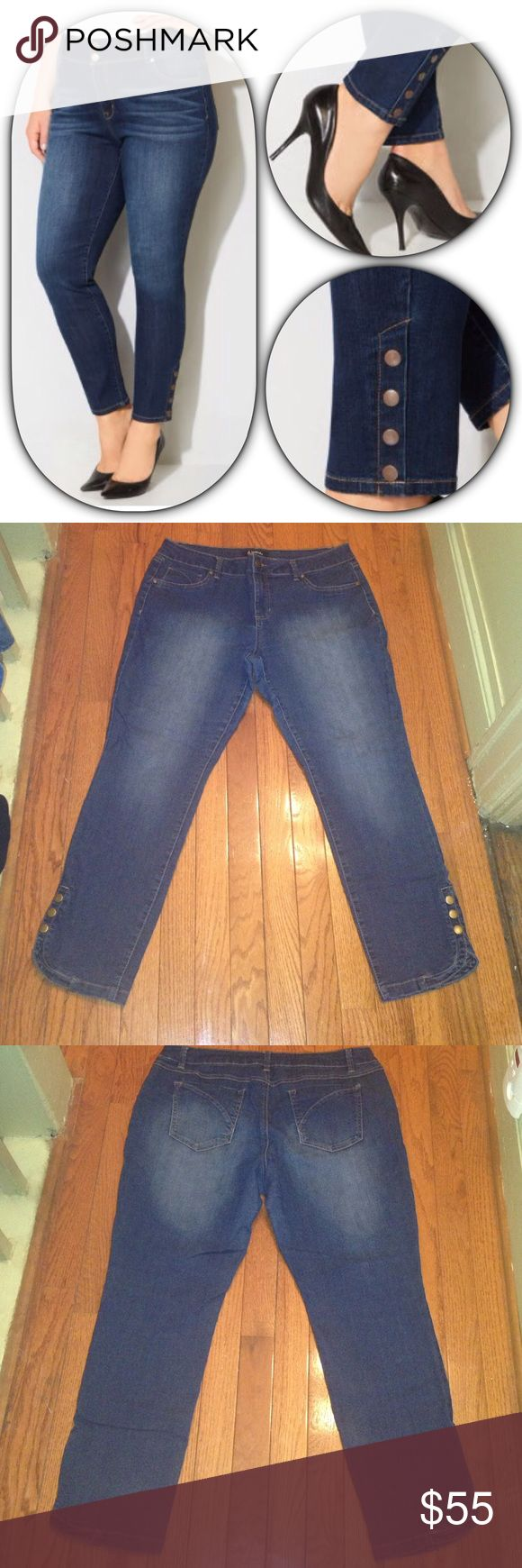 D. Jeans Snap Ankle Medium Wash Jegging Sz 14 D. Jeans Snap Ankle Medium Wash Jegging Sz 14. Ankle length. Faux front pockets. Belt loops. Two back pockets. Three snap ankle buttons on side of leg at hem. Front button zipper fly. Materials: 79% cotton/ 19% polyester/ 2% spandex. Measurements: Waist Circumference - 36 inches/ Hip Circumference - 43 inches/ Thigh Circumference - 24 inches/ Inseam Length - 26 inches Avenue Jeans Skinny
