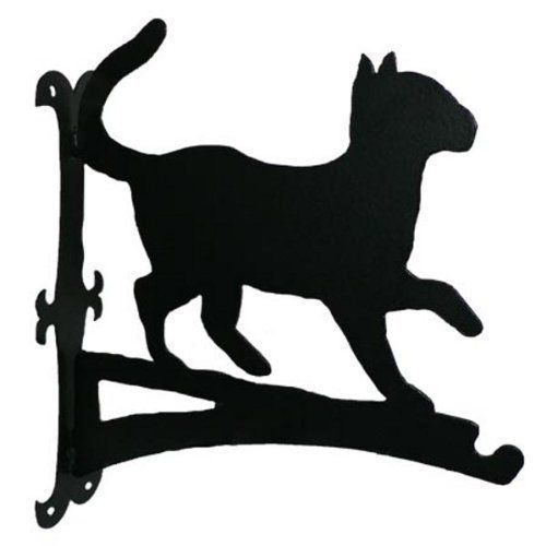 Profiles - Black Cat Hanging Basket Bracket.  This charming bracket is one of a range of hanging basket brackets, wind chimes, fence post tops and key racks made in Great Britain by The Profiles Range. It looks great in summer with a basket of flowers and just as good in winter with a hanging bird table or a net of nuts.  Made from mild steel, coated in High Density Polyethylene.