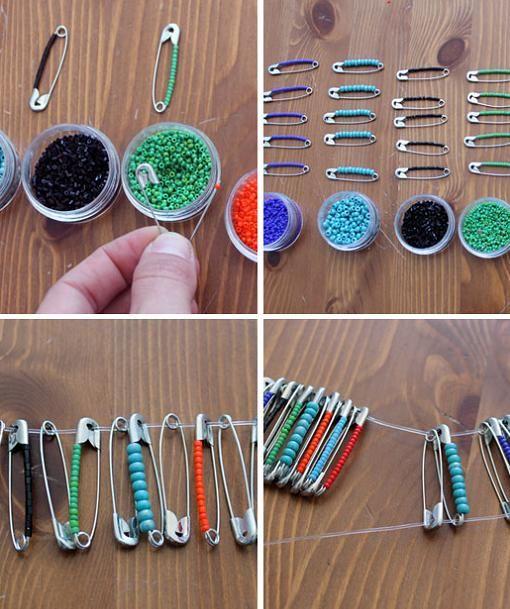 Aprende a hacer pulseras étnicas con imperdibles y bolitas de cuentas de colores con este fácil tutorial.