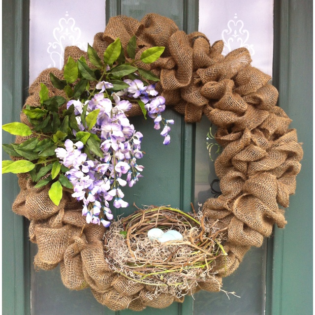 This is my take of Laura's (topthistopthat.blogspot.com) gorgeous wreath. It was so easy to do, thanks to her fabulous tutorial. Since my wisteria is in full bloom and my feathered friends are building new homes, what better way to welcome Spring!