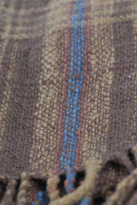 handwoven scarf; hand-dyed, handspun cotton, thick-thin