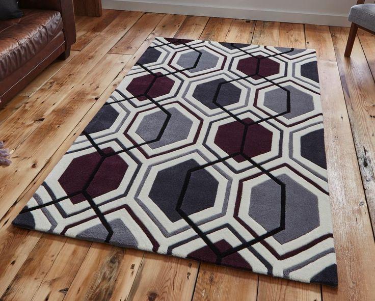 Cream dark purple geometric rug 150cm x 230cm (4'9 x 7'6ft) -contemporary rug #HONGKONG7526CREAMDARKPURPLE #Contemporary