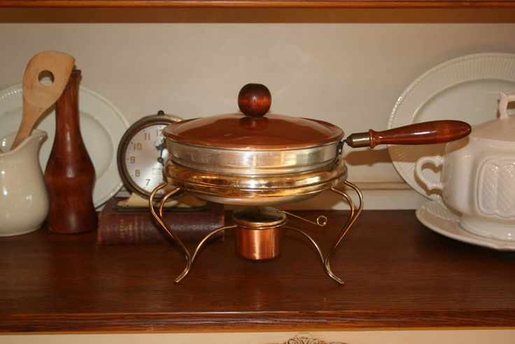 Vintage MCM Copper and Aluminum Chafing Dish Fondue Warming Serving Set Wood Handles and Knob by AstridsPastTimes on Etsy