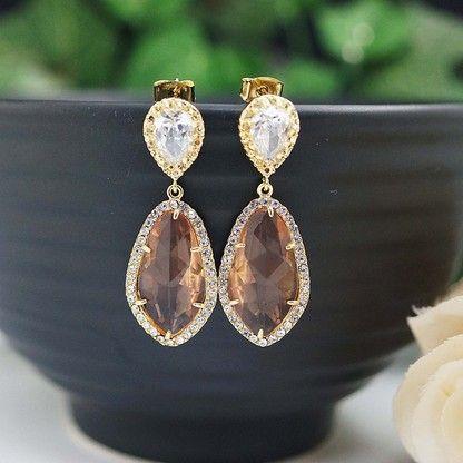 Peach glass bridal earrings from www.earringsnation.com