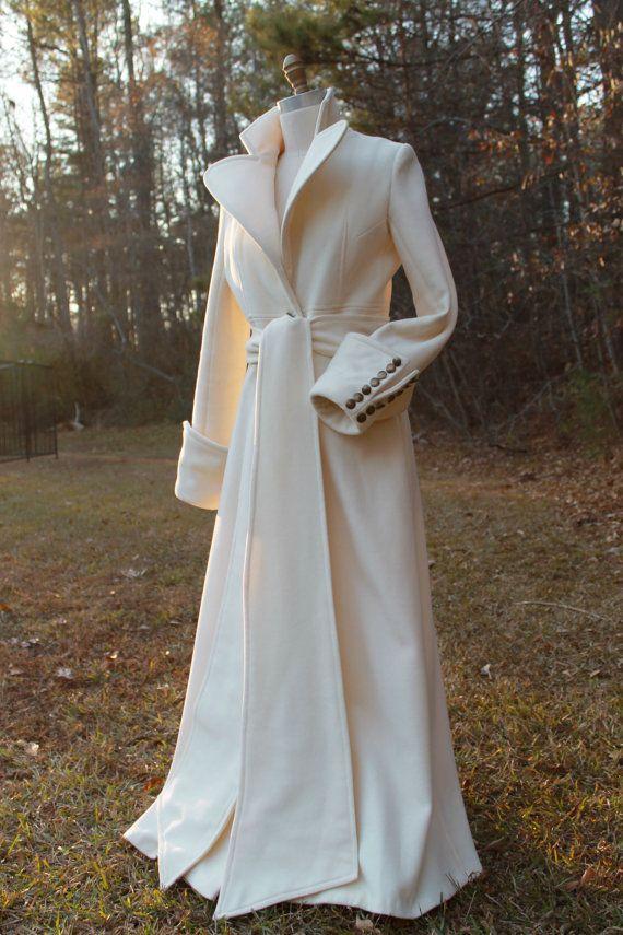 Stunning Handmade Virgin Wool Coat Maxi Coat Made by HAVENSTREET #wedding