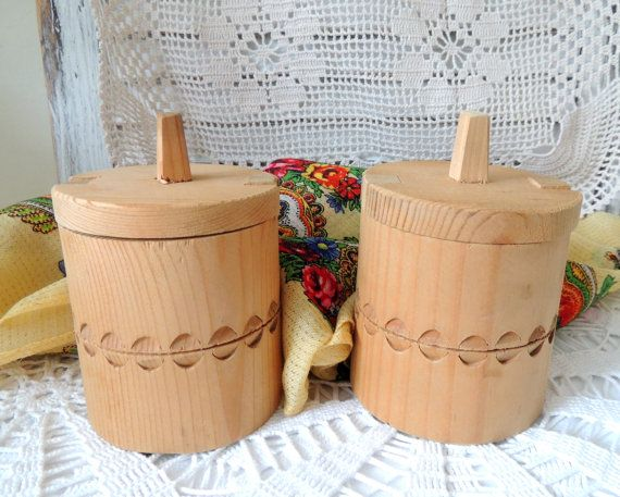 Vintage Two Wooden Boxes Jewelry Box Jewellery Box Round