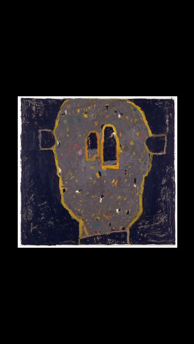 """François Dilasser - """" Tête à oreilles """", 1997 - Acrylique sur papier marouflé sur toile - 110 x 115 cm"""