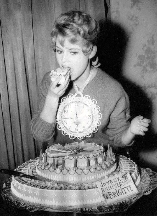 "It's my 22nd birthday so, happy birthday to me with this rare wonderful image of BB on her 22nd birthday!!! missbrigittebardot: ""Brigitte Bardot celebrates her 22nd birthday, 1956 """